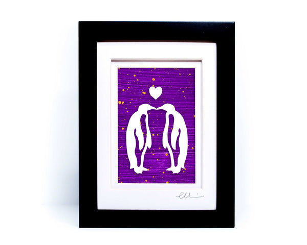Kissing Penguins Papercut