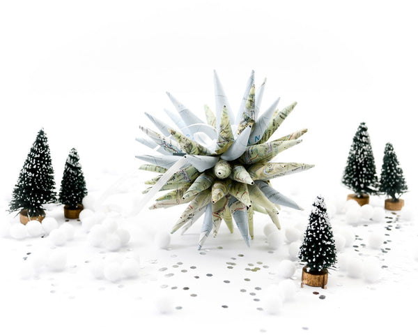 Spiky ornament made from the actual atlas map pages.