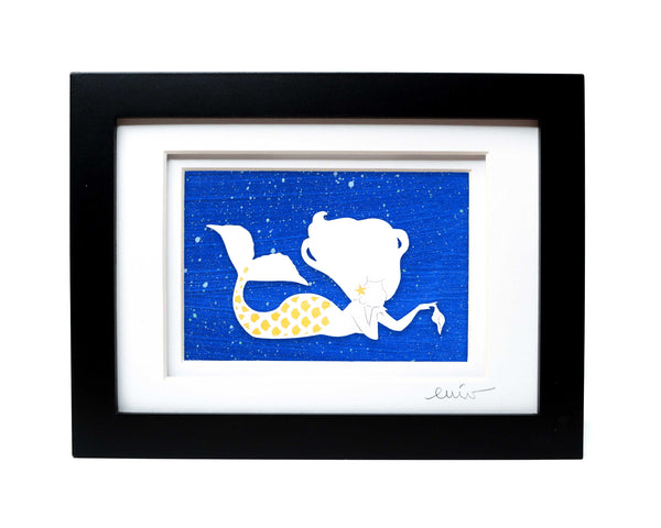 Pondering Mermaid Papercut