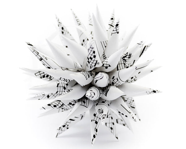 Spiky ornament made from real music sheet pages.