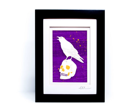 Raven and Skull Papercut