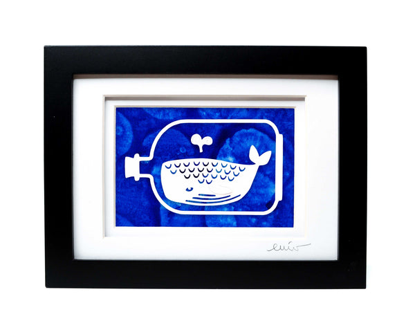 Whale in a Bottle Papercut