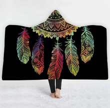 Load image into Gallery viewer, Rainbow Dream Catcher Hooded Blanket