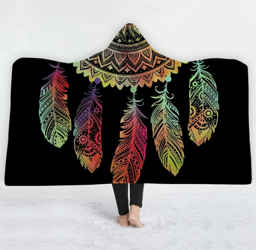 Rainbow Dream Catcher Hooded Blanket