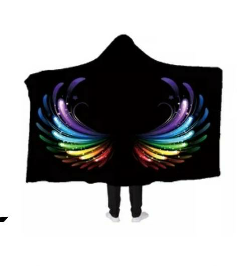 Rainbow Angel Hooded Blanket