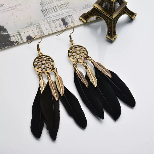 Floral Feather Web Earring