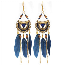 Load image into Gallery viewer, Beaded Feather Earrings