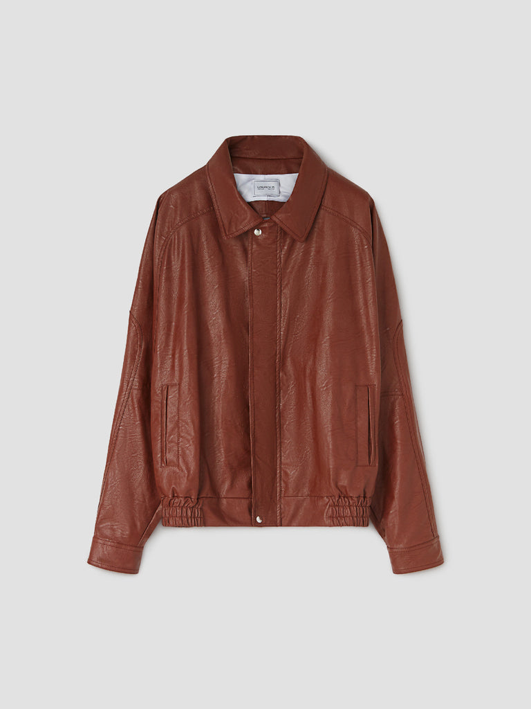 Brown Backless Leather Jacket