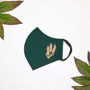 Wheat stalk hand embroidered face masks, face mask for women, face mask for teens, 3 layer face mask with filter pocket and nose wire
