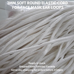 (Save with Bulk Purchase) 100 Yards Soft Elastic for Ear Loops