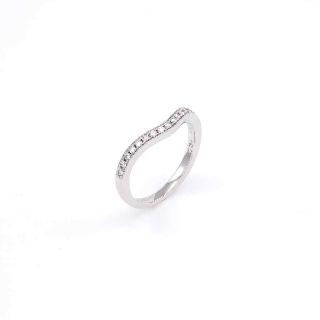 14KT White Gold 0.15CT Round Diamond Band