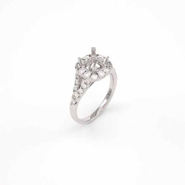 14KT White Gold 0.79CT Round Diamond Semi-Set Engagement Ring