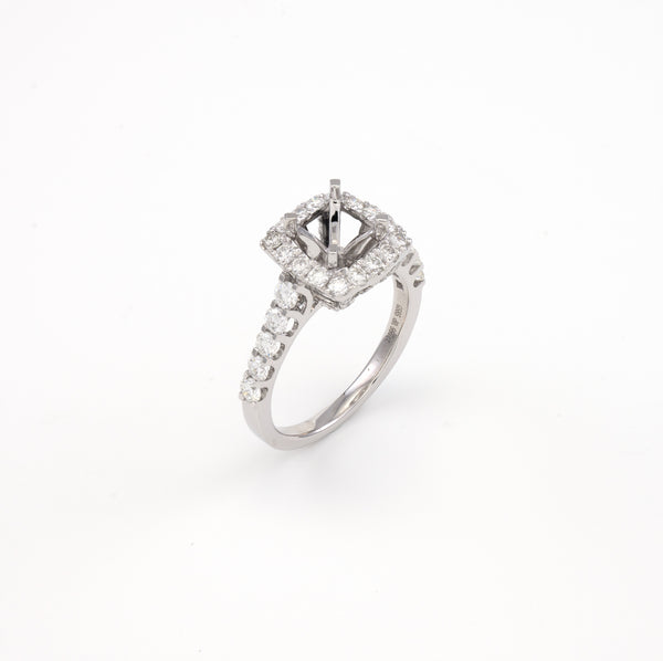 14KT White Gold 1.00CT Round Diamond Semi-Set Engagement Ring