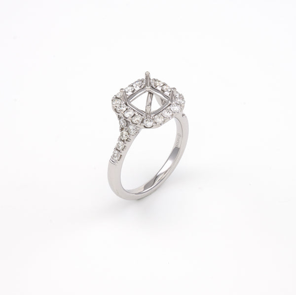 14KT White Gold 0.80CT Round Diamond Semi-Set Engagement Ring