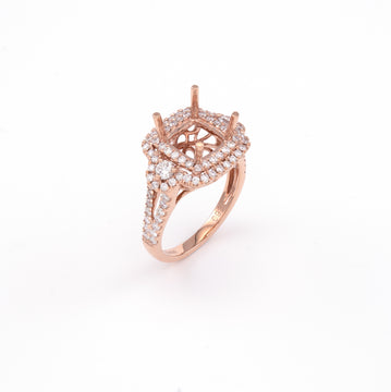 14KT Rose Gold 0.92CT Round Diamond Semi-Set Engagement Ring
