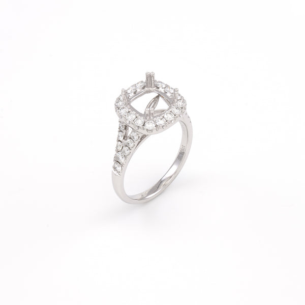 14KT White Gold 0.83CT Round Diamond Semi-Set Engagement Ring