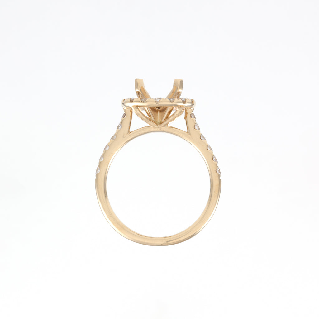14KT Yellow Gold 0.70CT Round Diamond Semi-Set Engagement Ring