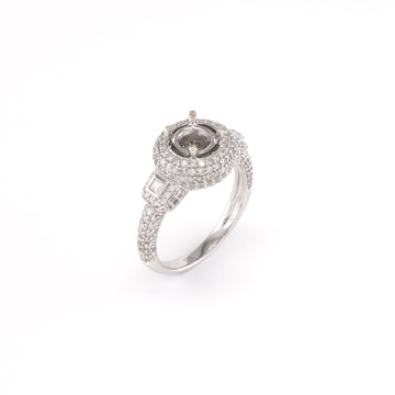 18KT White Gold 1.13CT T/W Diamonds Semi-Set Engagement Ring