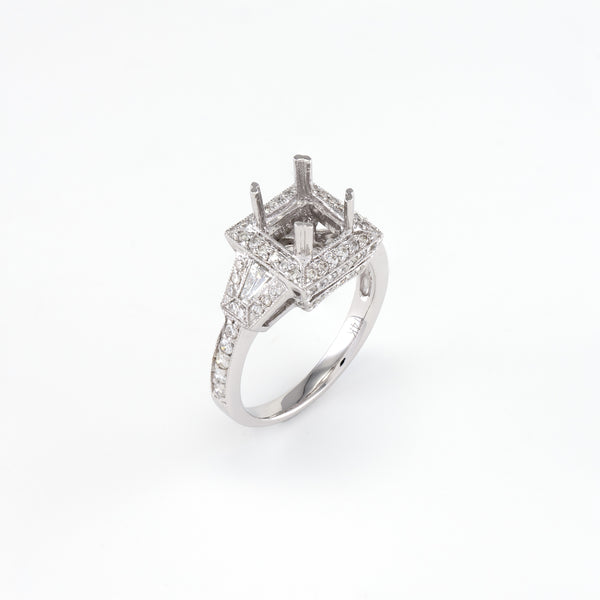 14KT White Gold 0.82CT T/W Diamonds Semi-Set Engagement Ring