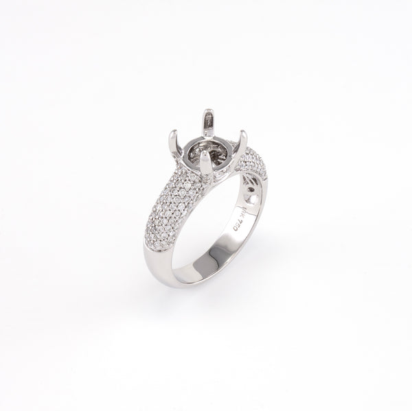18KT White Gold 0.60CT Round Diamond Semi-Set Engagement Ring