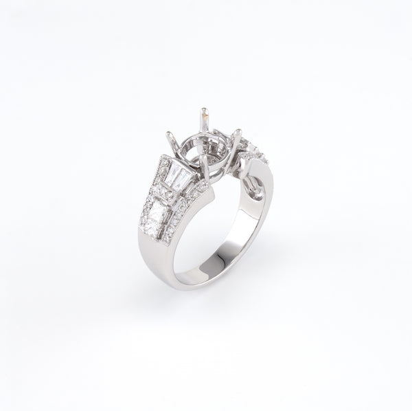 18KT White Gold 0.85CT T/W Diamonds Semi-Set Engagement Ring