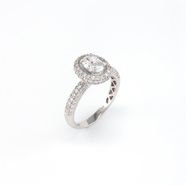 18KT White Gold 0.53CT Round Diamond Semi-Set Engagement Ring