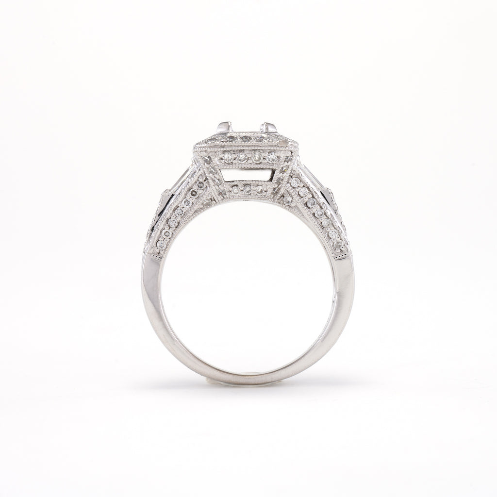 18KT White Gold 1.32CT T/W Diamonds Semi-Set Engagement Ring