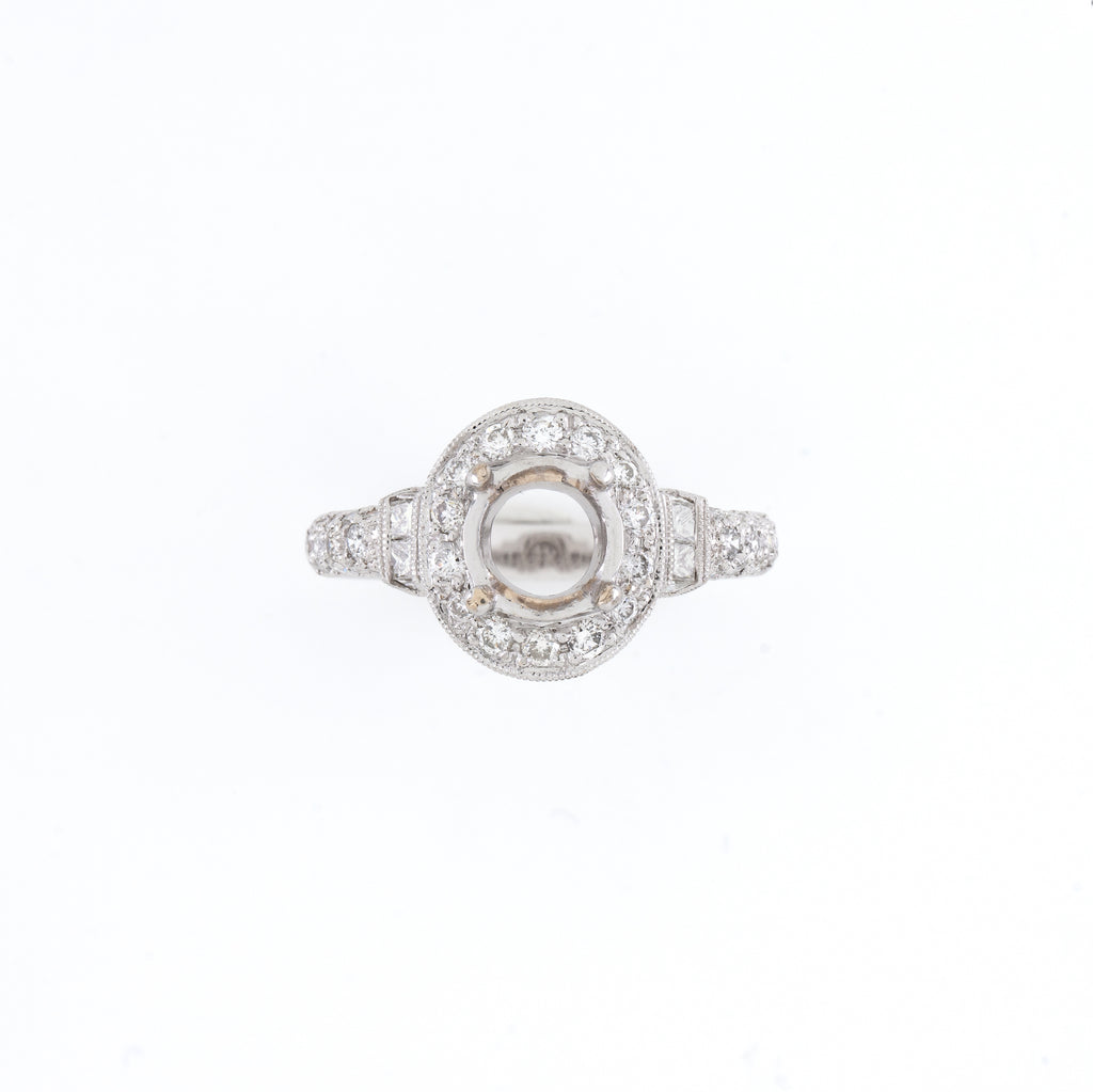 18KT White Gold 1.18CT T/W Diamonds Semi-Set Engagement Ring