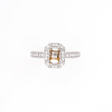 14KT Two-Tone 0.53CT Round Diamond Semi-Set Engagement Ring