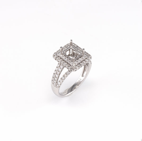 14KT White Gold 0.85CT Round Diamond Semi-Set Engagement Ring