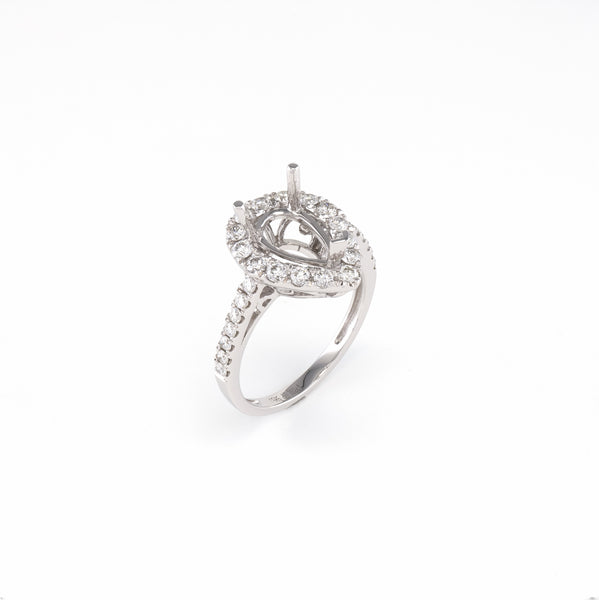 14KT White Gold 0.70CT Round Diamond Semi-Set Engagement Ring