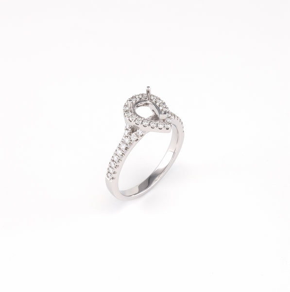 14KT White Gold 0.35CT Round Diamond Semi-Set Engagement Ring