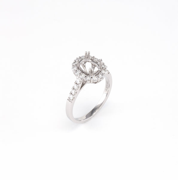 14KT White Gold 0.56CT Round Diamond Semi-Set Engagement Ring