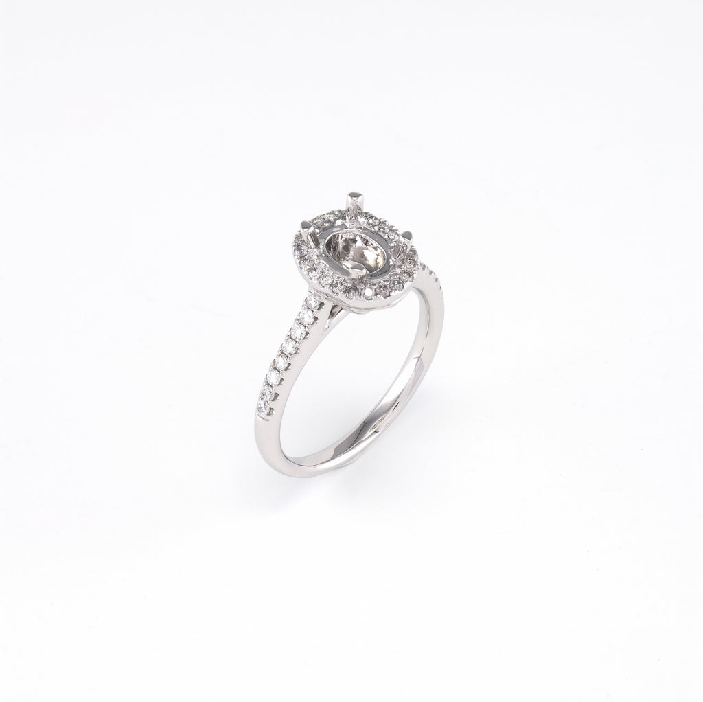14KT White Gold 0.30CT Round Diamond Semi-Set Engagement Ring