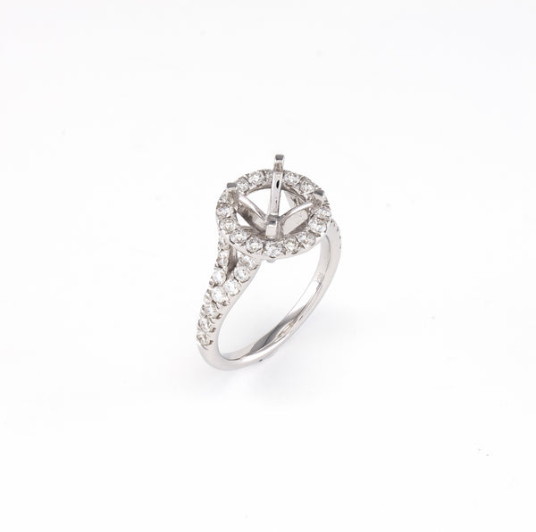 14KT White Gold 0.93CT Round Diamond Semi-Set Engagement Ring
