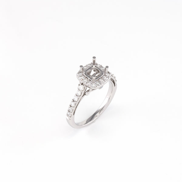 14KT White Gold 0.65CT Round  Diamond Semi-Set Engagement Ring