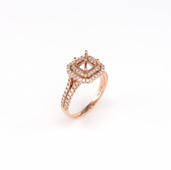 14KT Rose Gold 0.53CT Round Diamond Semi-Set Engagement Ring