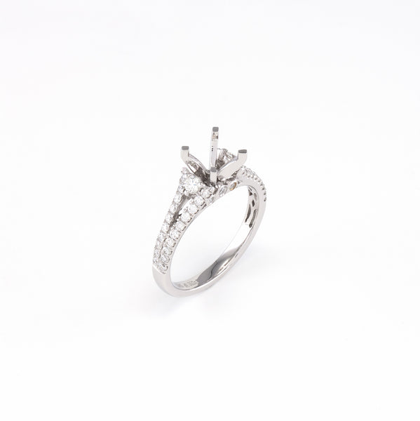 14KT White Gold 0.55CT Round Diamond Semi-Set Engagement Ring