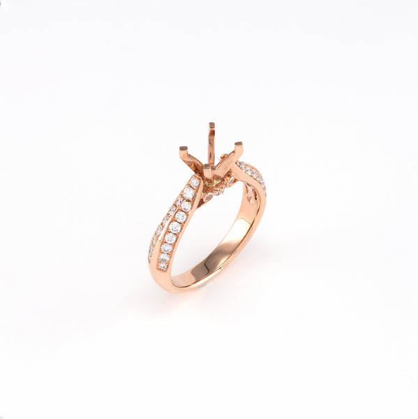 14KT Rose Gold 0.44CT Round Diamond Semi-Set Engagement Ring