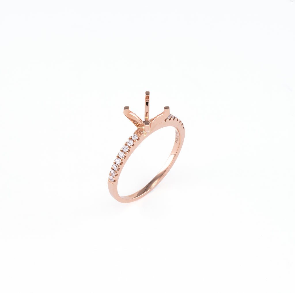 14KT Rose Gold 0.15CT Round Diamond Semi-Set Engagement Ring