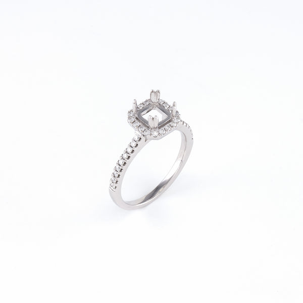 14KT White Gold 0.29CT Round Diamond Semi-Set Engagement Ring