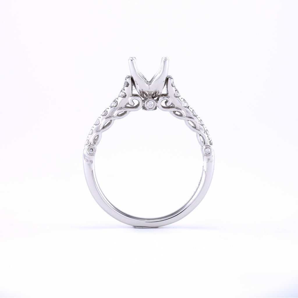 14KT White Gold 0.37CT Round Diamond Semi-Set Engagement Ring
