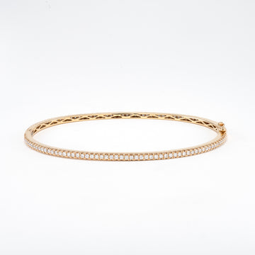 14KT Yellow Gold 1.14CT Round Diamond Bangle Bracelet