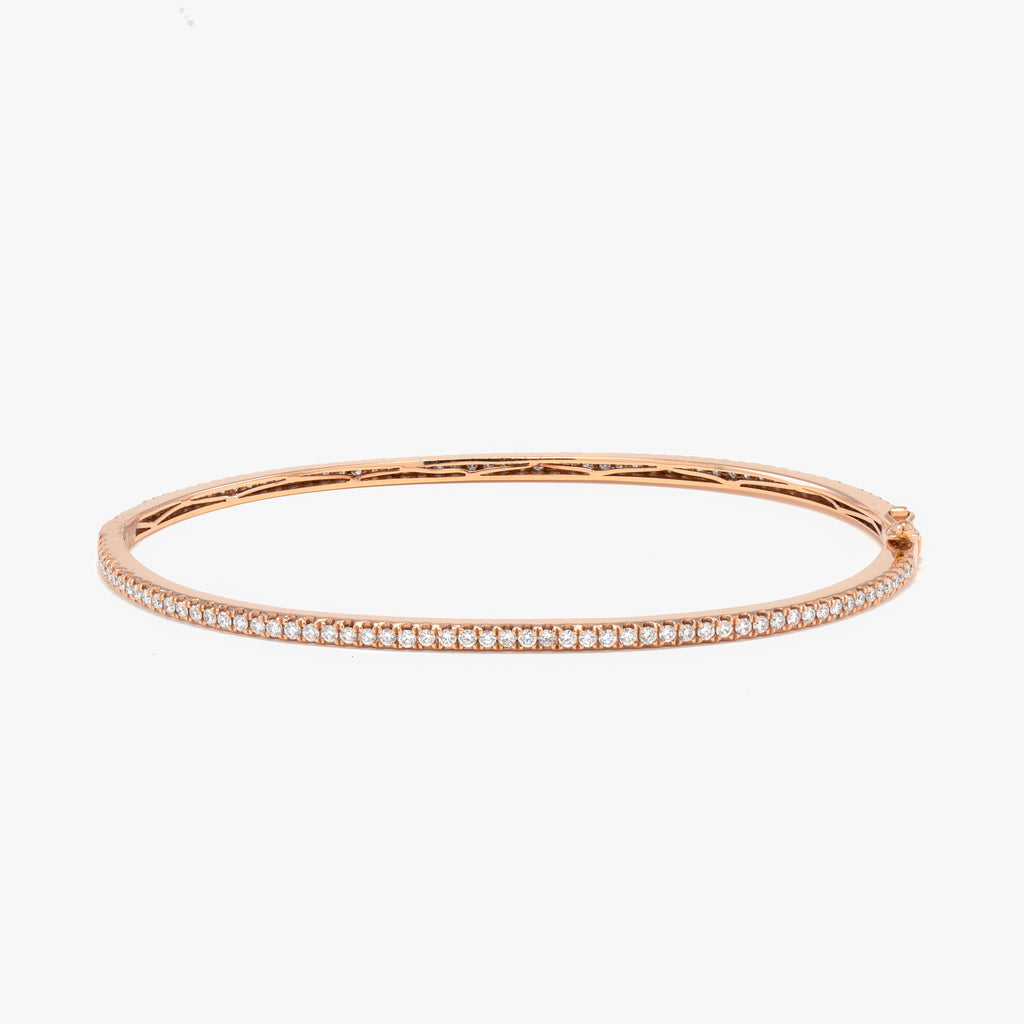 14KT Rose Gold 1.14CT Round Diamond Bangle Bracelet