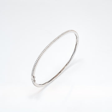 14KT White Gold 1.14CT Round Diamond Bangle Bracelet