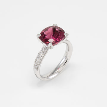 18KT White Gold Diamond & Pink Tourmaline Ring