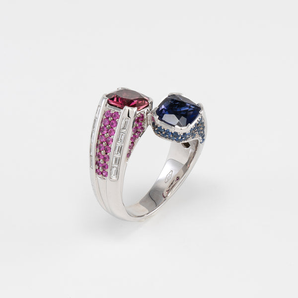 18KT White Gold Diamond Pink Tourmaline & Iolite Ring