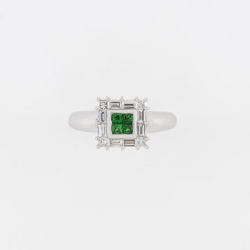 18KT White Gold Diamond & Tsavorite Ring