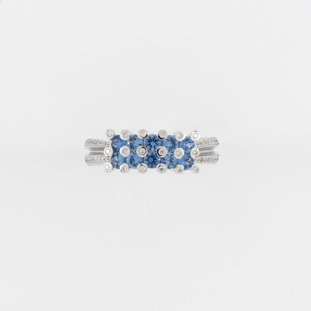 18KT White Gold Diamond & Blue Sapphire Ring