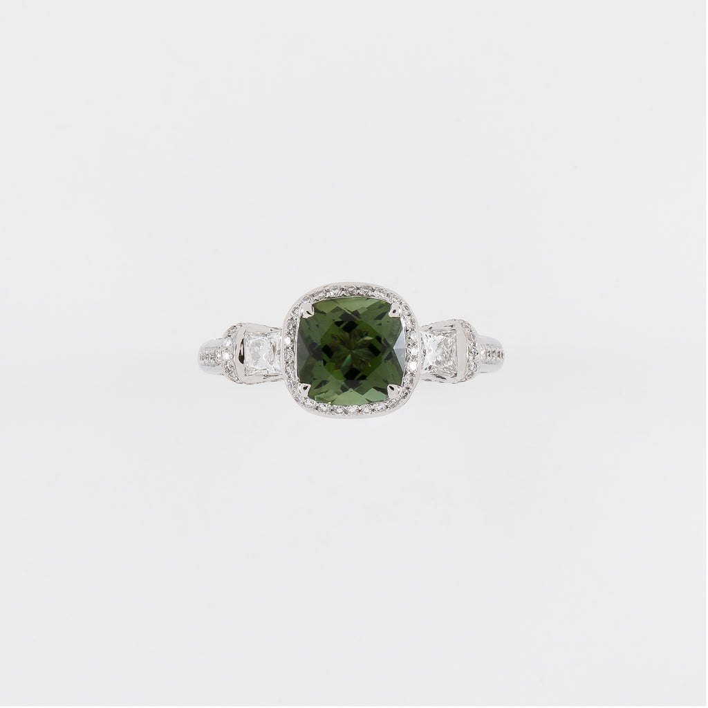 18KT White Gold Diamond & Green Tourmaline Ring